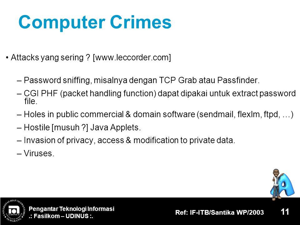 Computer Crimes • Attacks yang sering [www.leccorder.com]